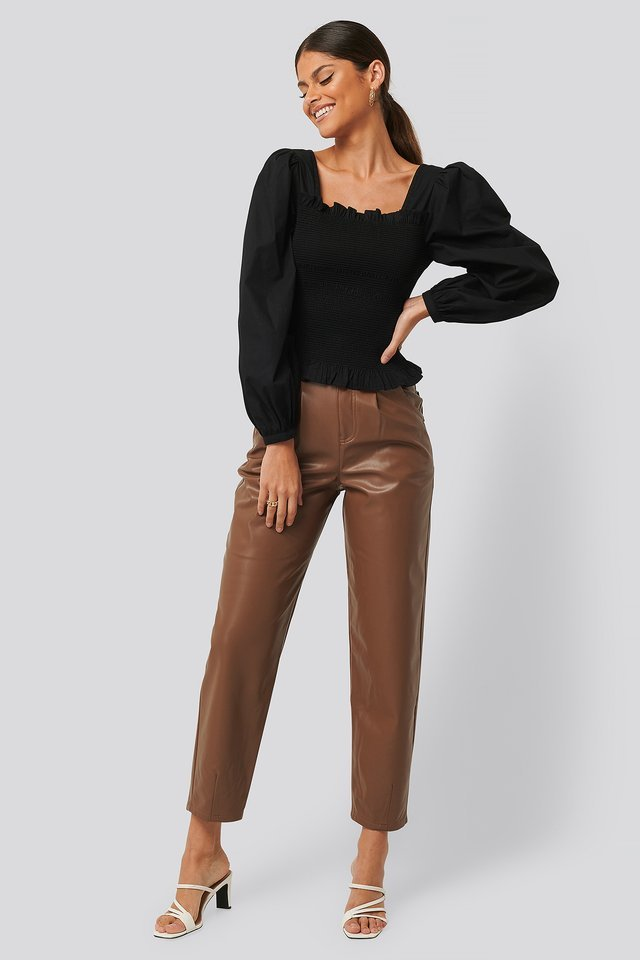 Faux Leather Ballon Leg Pants