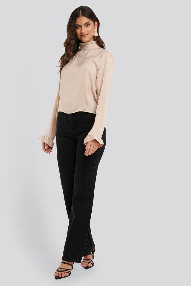 Frill Sleeve Elastic Collar Blouse