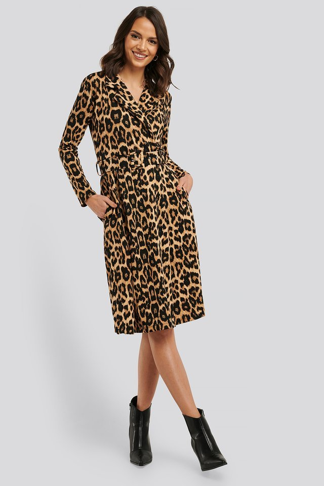 Brown Waistband Midi Dress