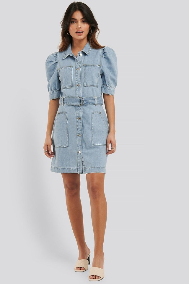 Puff Sleeve Belted Denim Dress Outfit