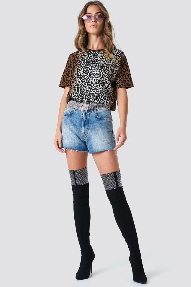 Leopard Top with Denim Skirt
