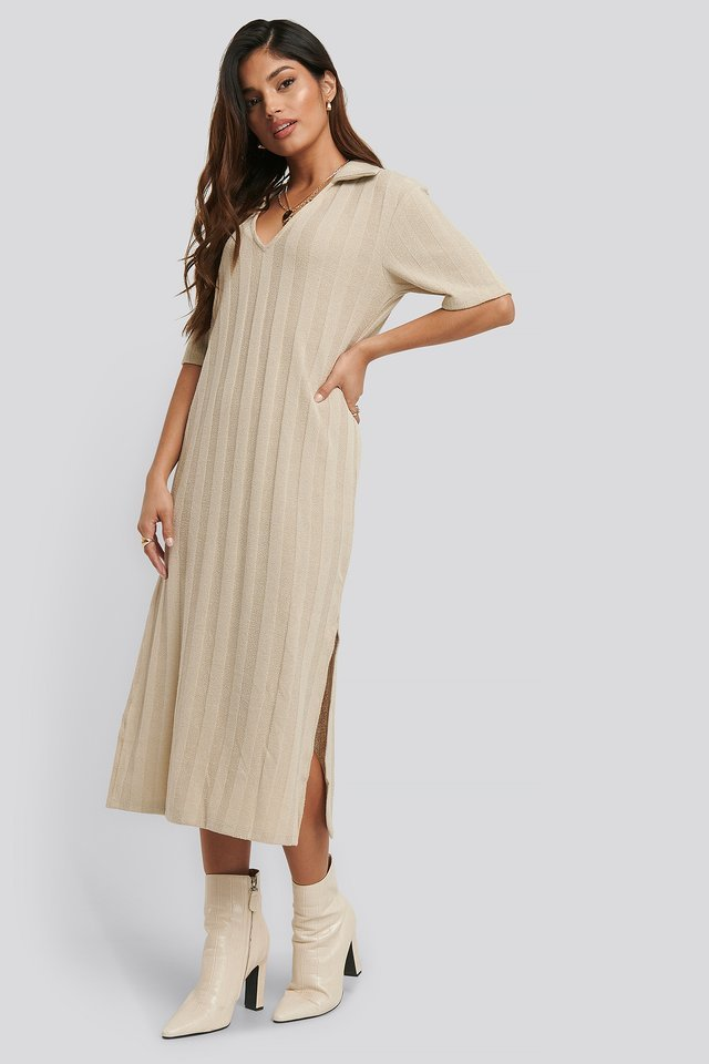 Collar V Front Knitted Dress