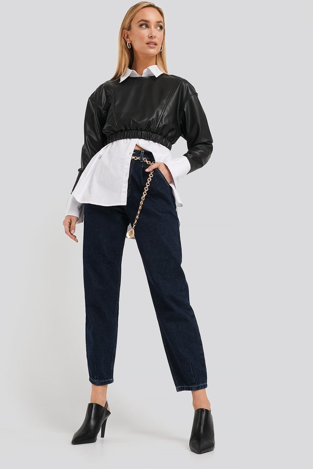Dark Blue Cropped Balloon Leg Jeans