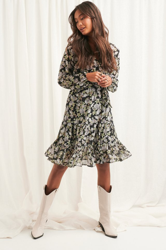 Self-Tie Printed Midi Dress