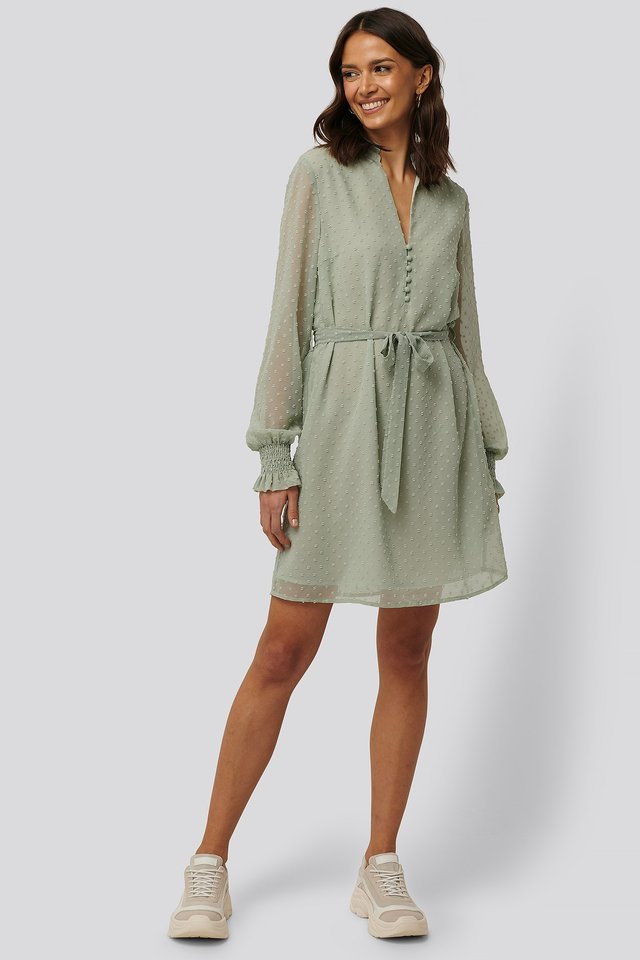 Frill Neck Dobby Dress Outfit