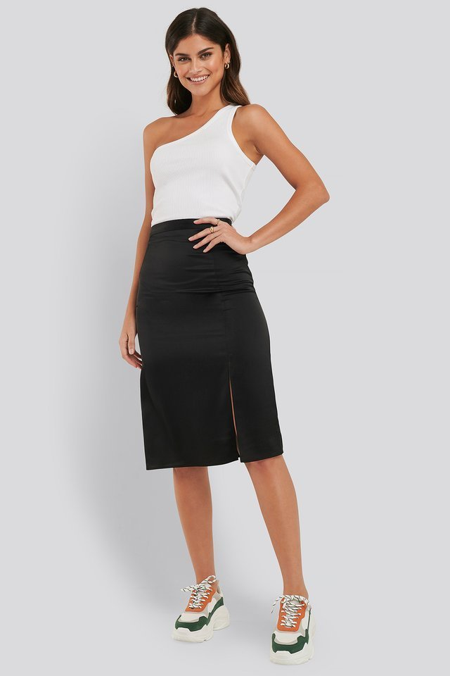 Front Slit Satin Skirt