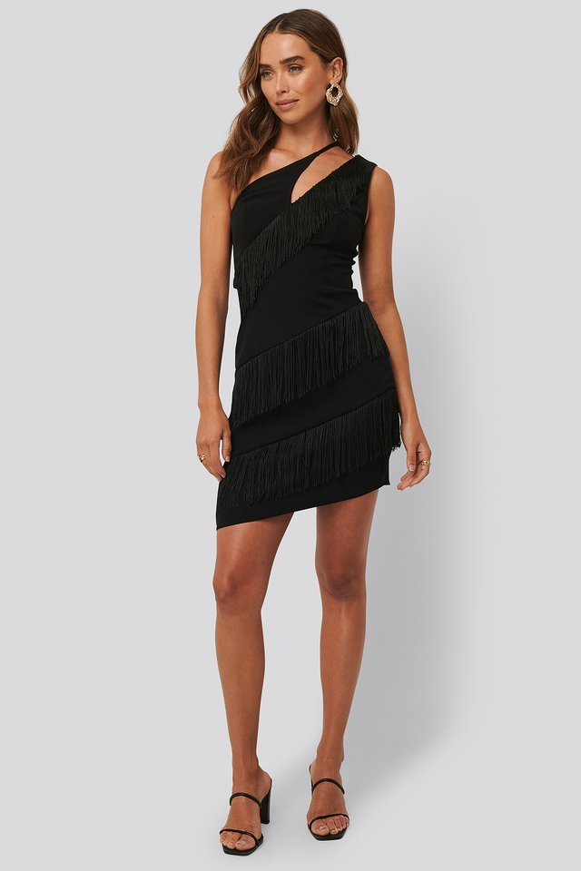 Tassle Detail One Shoulder Dress