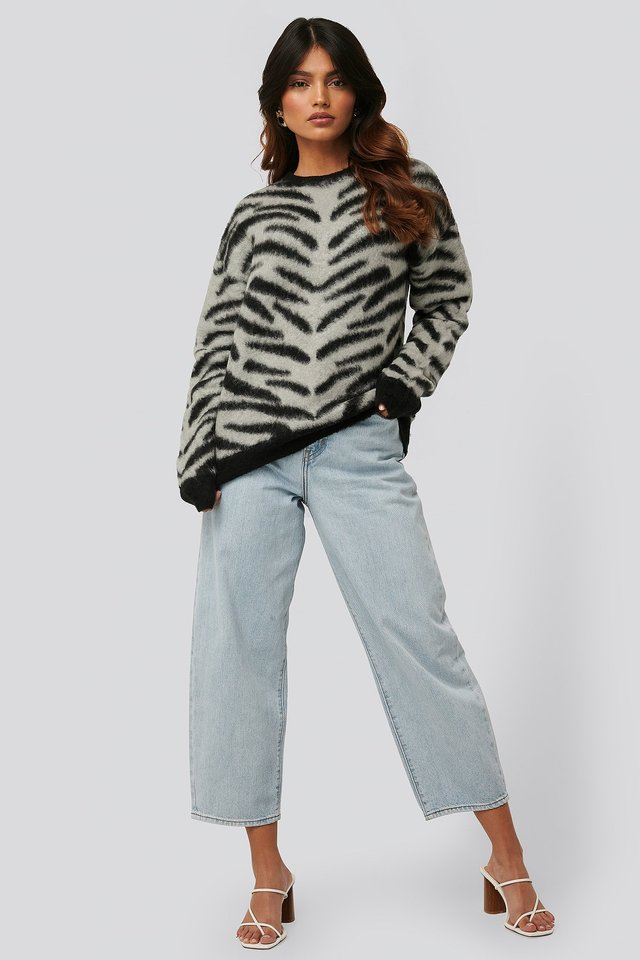 Brushed Zebra Knitted Sweater