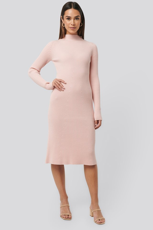 Ribbed Knitted Polo Dress Outfit