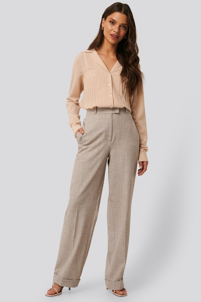 High Waist Folded Suit Pants