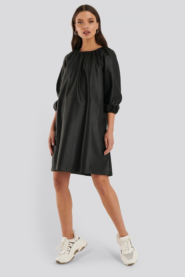 Balloon Sleeve PU Dress Outfit