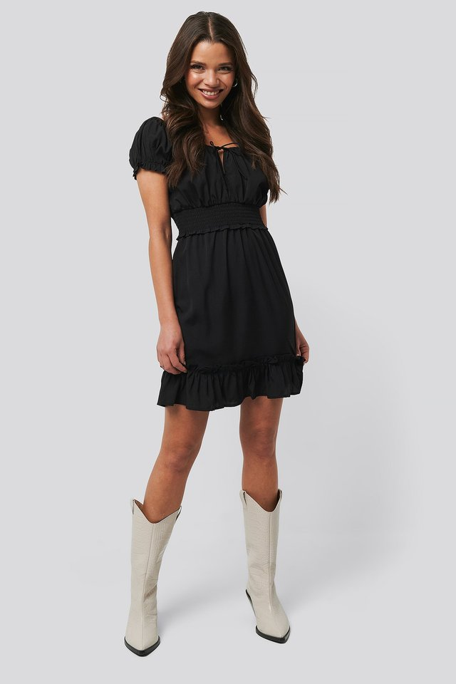Puff Sleeve Mini Flounce Dress Outfit
