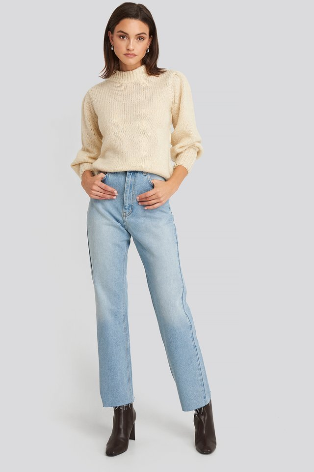 High Waist Raw Hem Straight Jeans