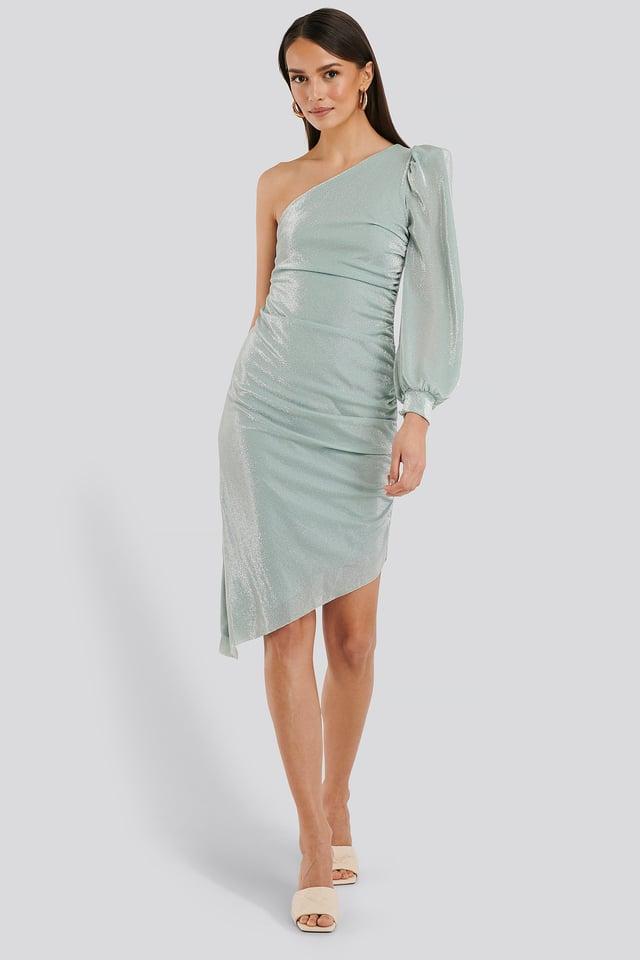 Drape One Sleeve Midi Dress Outfit