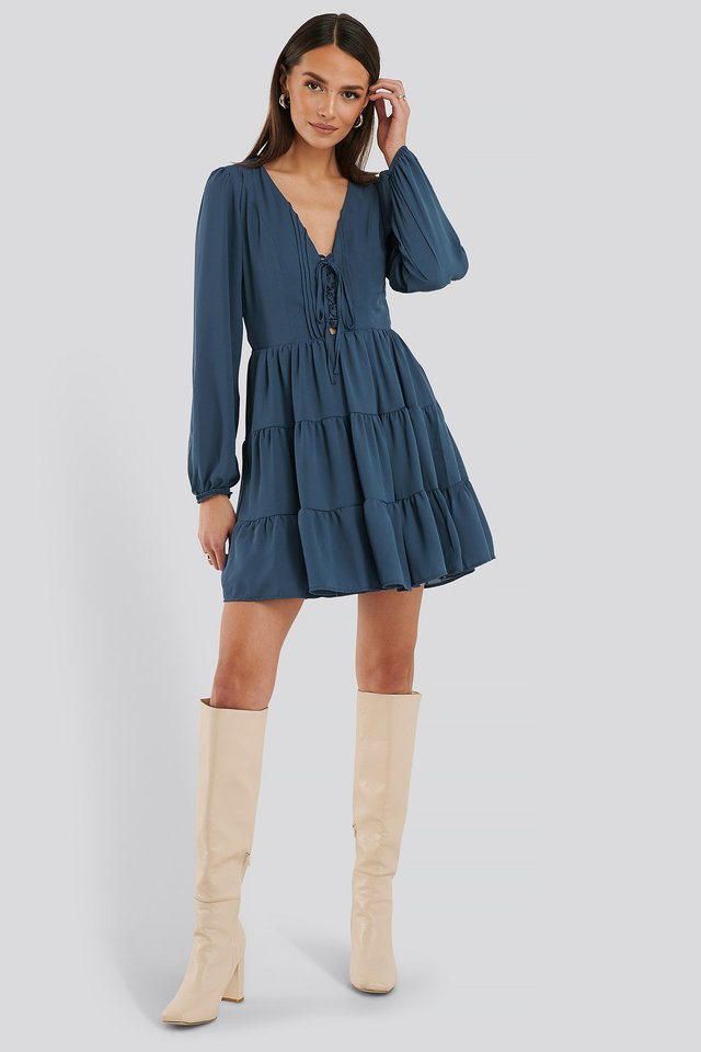 Front Laced Mini Dress Outfit