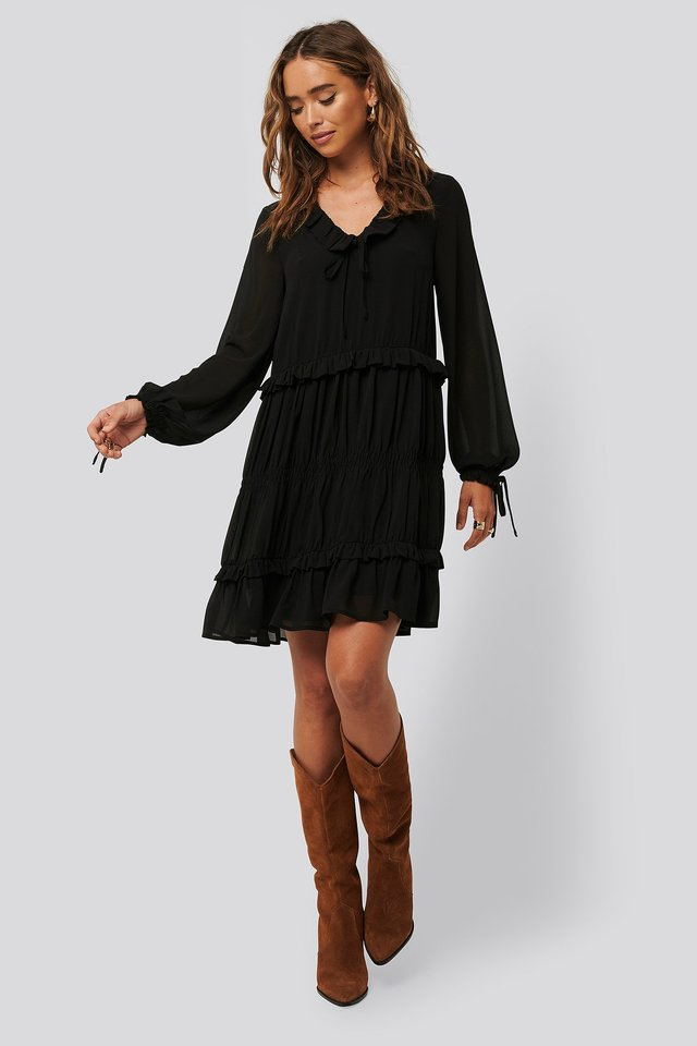 Black Multi Frill Flowy Mini Dress
