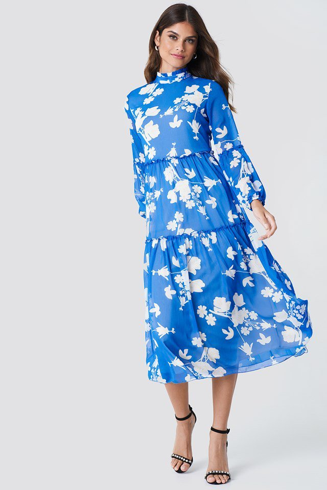Blue Mesh Midi Dress
