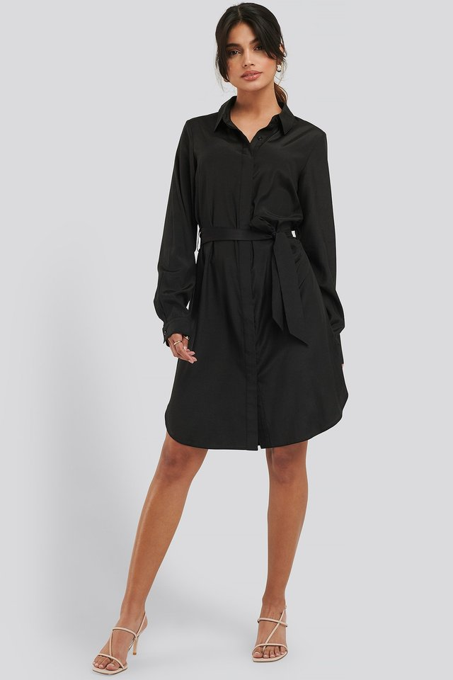 Long Sleeve Belted Shirt Dress Outfit