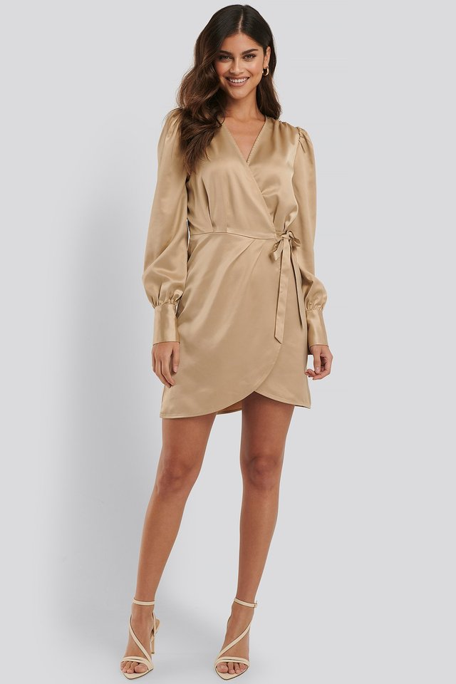 Wrap Satin Dress Outfit