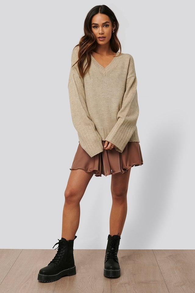 V-neck Oversized Knitted Sweater