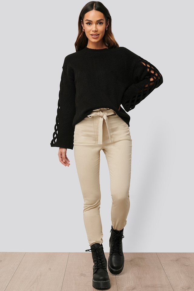 Sleeve Detail Roundneck Knit