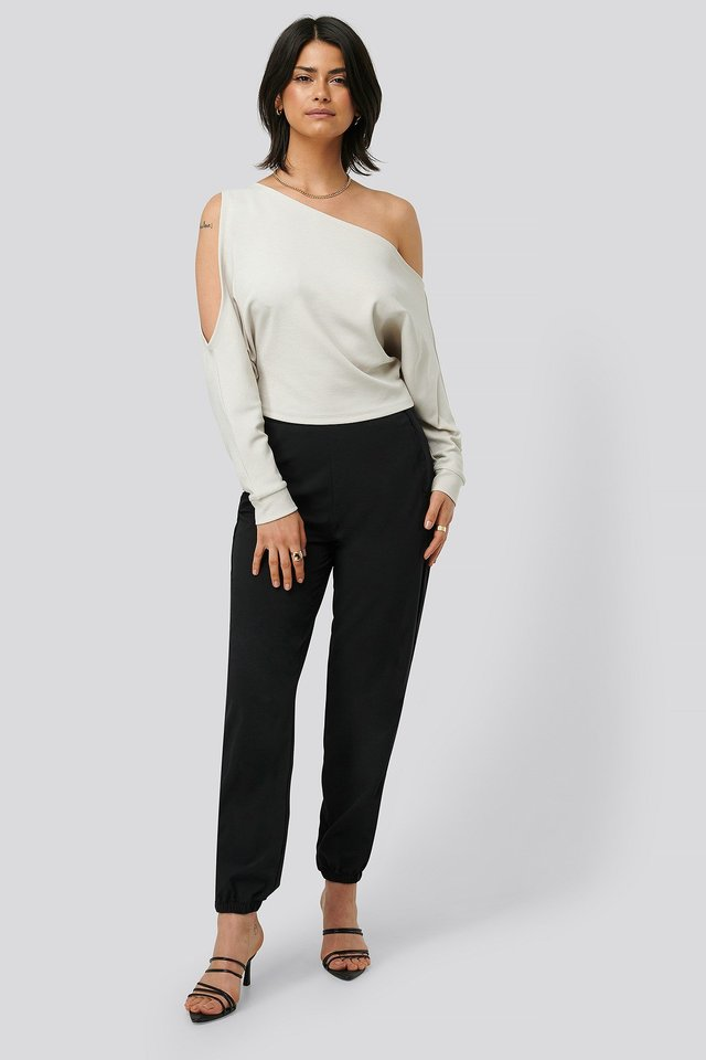 Draped Bare Shoulder Top