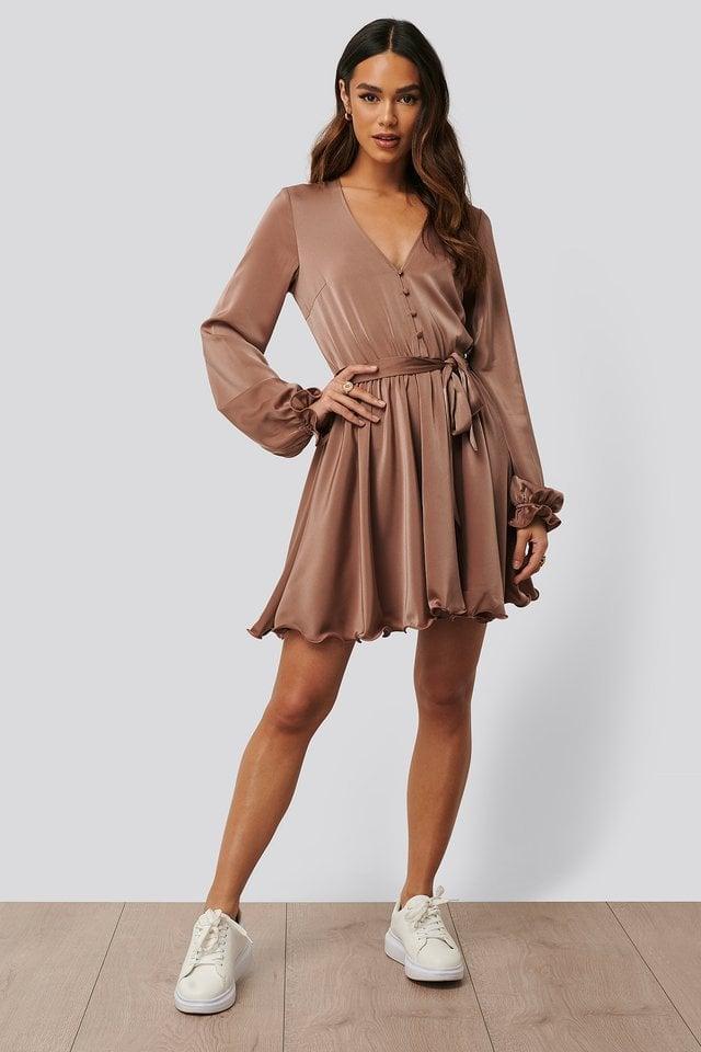 Front Button LS Mini Dress