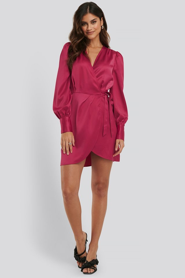 Wrap Satin Dress Outfit