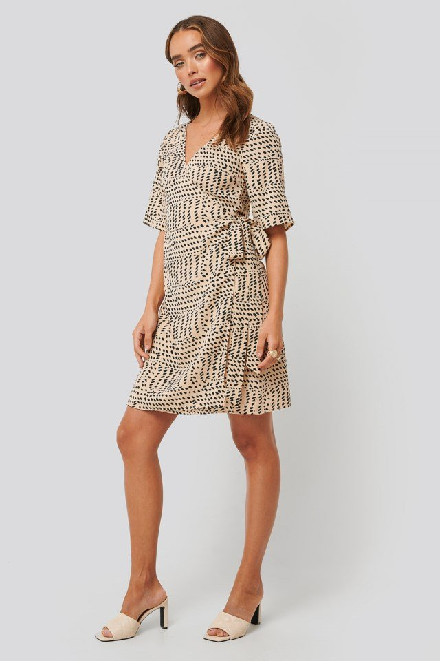 Printed Overlap Dress