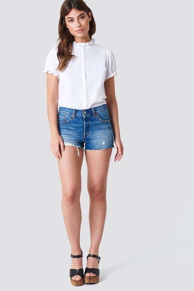 Feminine Blouse with Denim Shorts