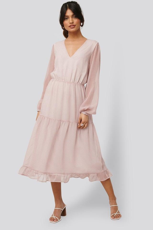 Check Shirred Dress