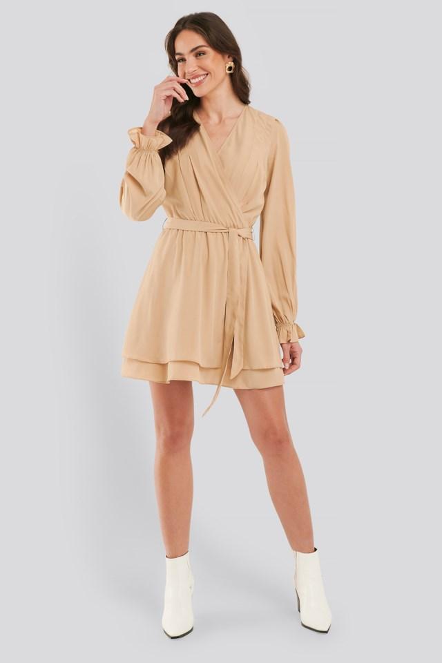 Beige Overlap Draped Mini Dress