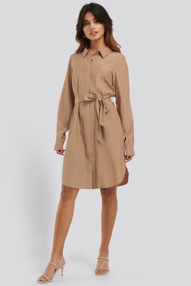 Long Sleeve Belted Shirt Dress
