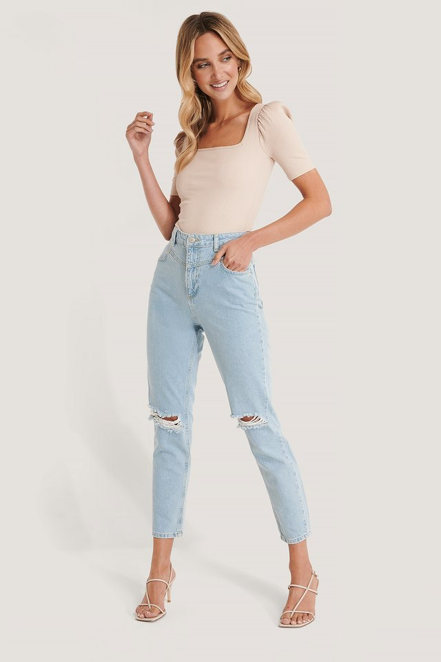 Ripped High Waist Mom Jeans