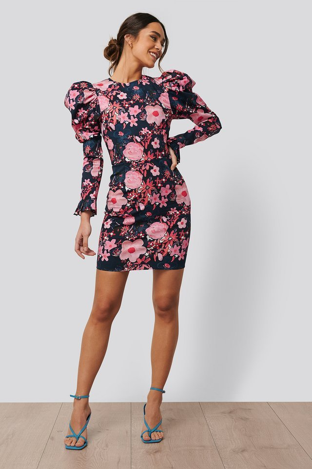 Long Puff Sleeve Mini Dress