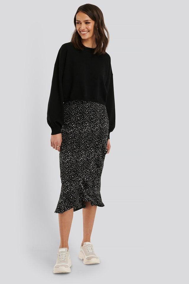 Overlap Flounce Midi Skirt Outfit