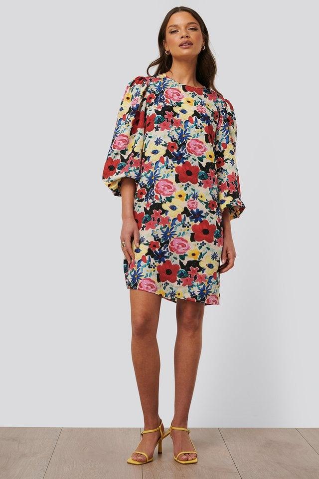 Balloon Sleeve Flower Dress