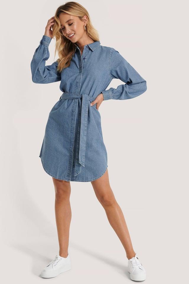 Denim Shirt Belted Dress Outfit