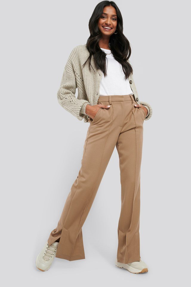 Black Creased Side Slit Pants