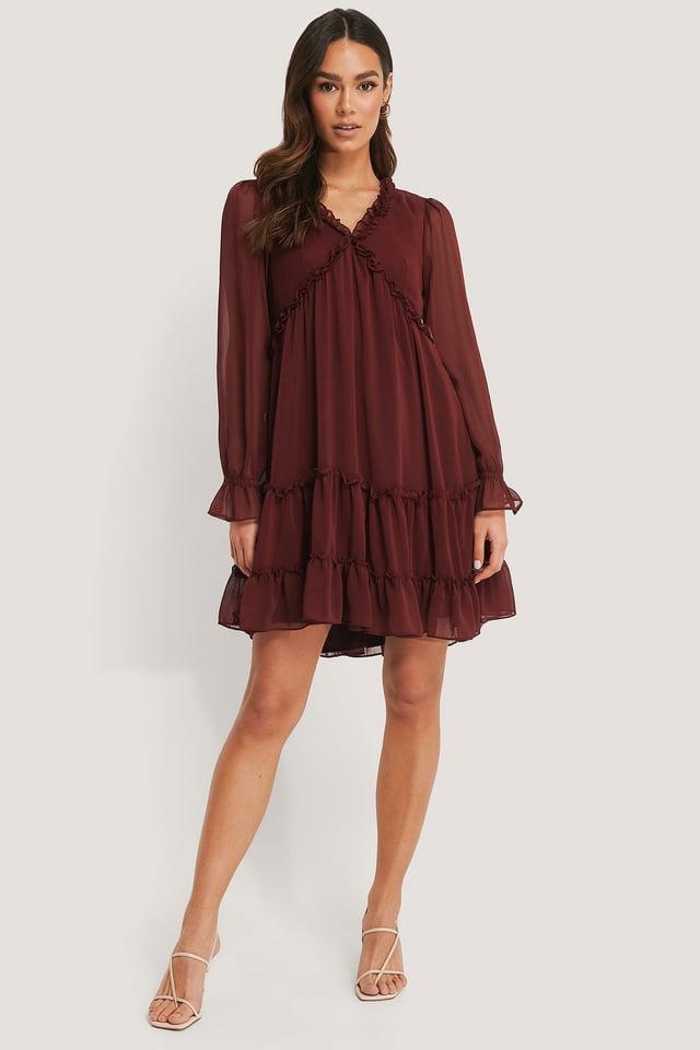 Sheer Ruffle Mini Dress Outfit