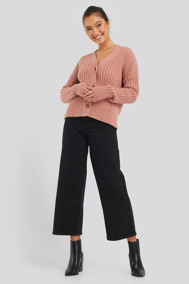 Mohair Blend Chunky Cropped Cardigan