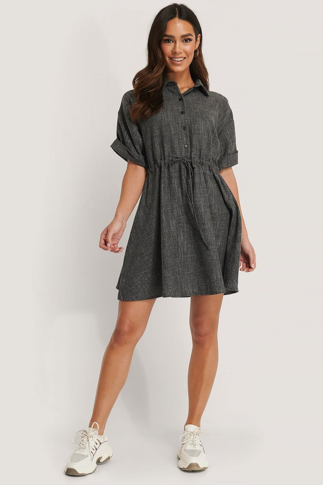 Button Detail Belt Mini Dress Outfit