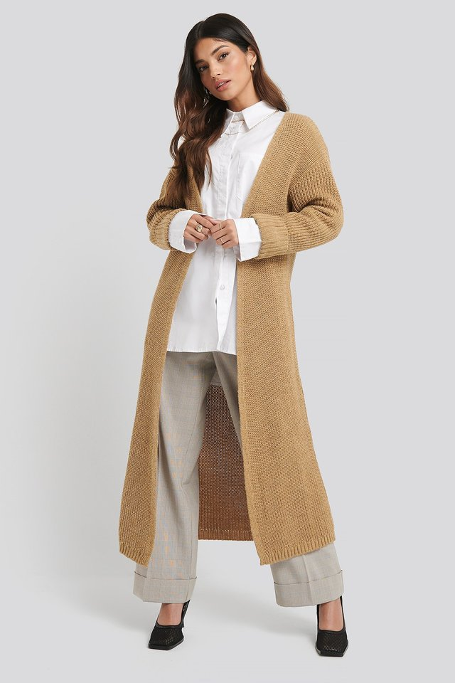 Turn Up Cuff Open Front Cardigan