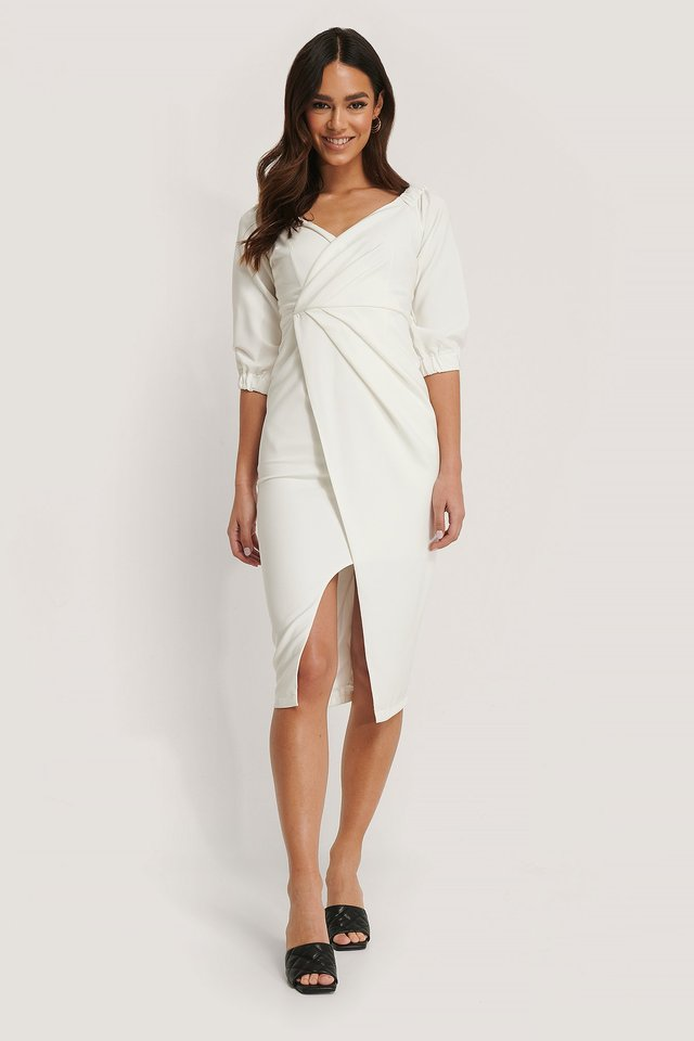 Drape Detailed Midi Dress Outfit