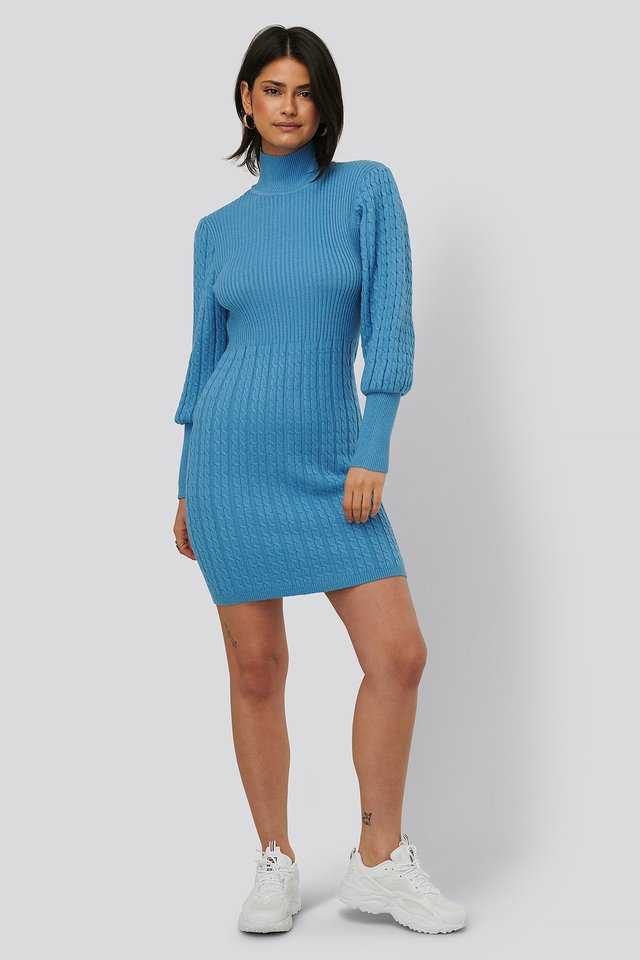 Knitted Balloon Sleeve Dress Outfit