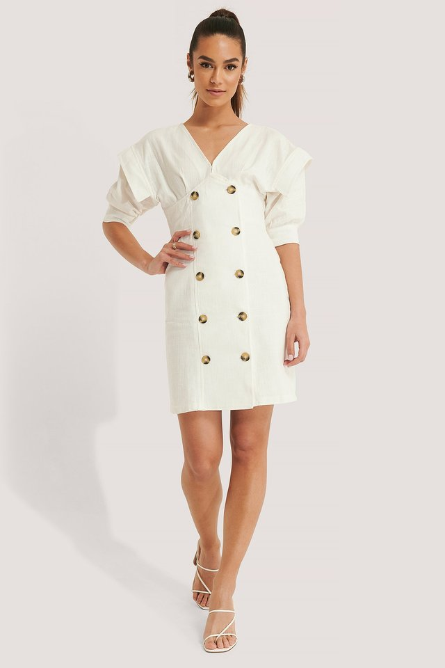 Puff Sleeve Button Detail Mini Dress