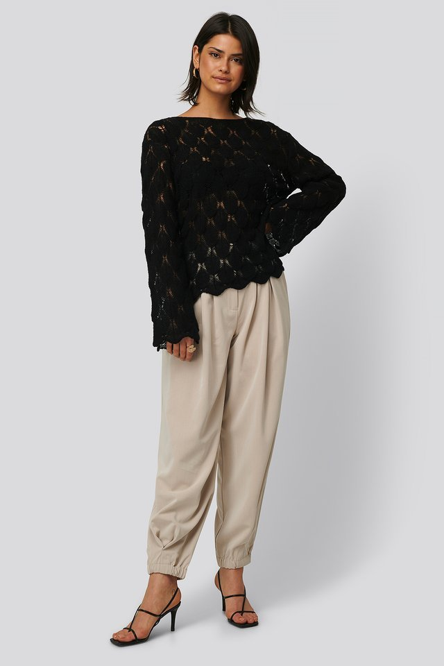 Pattern Knitted Long Sleeve Sweater