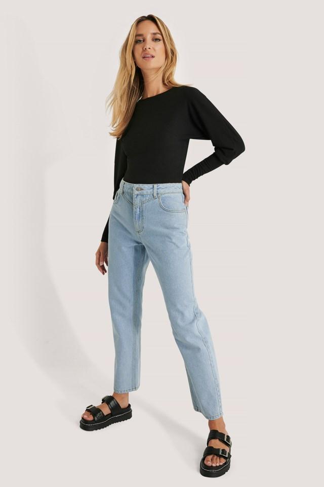 Mid Waist Straight Jeans