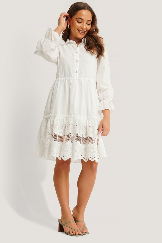 Lace Detail Shirt Dress