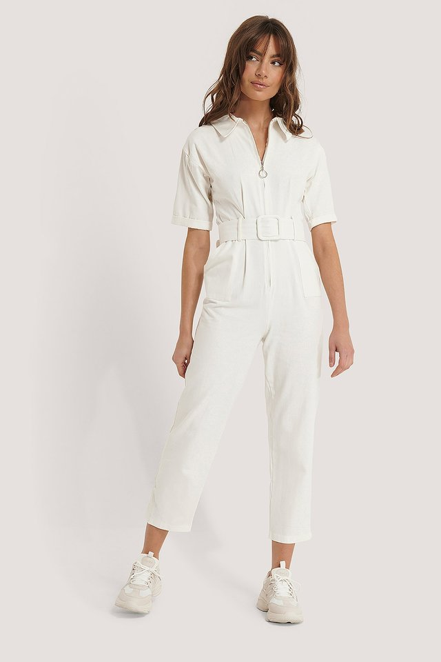 Belted Zipper Jumpsuit Outfit